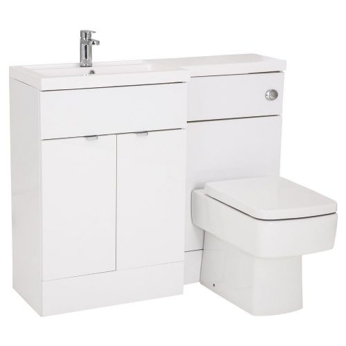 Elite White Gloss 1100mm Combination Furniture Pack - Left Hand